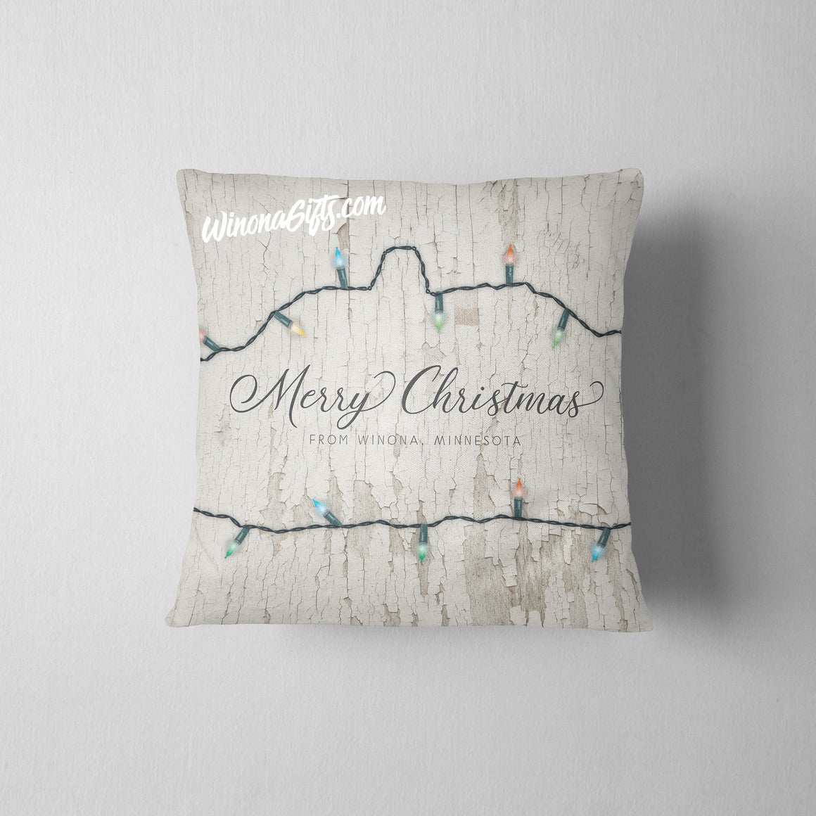 Throw Pillow Merry Christmas from Winona Christmas Lights - Kari Yearous Photography KetoLaughs
