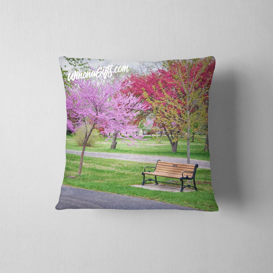 Pillow Redbud Tree With Bench Winona Minnesota - Kari Yearous Photography KetoLaughs