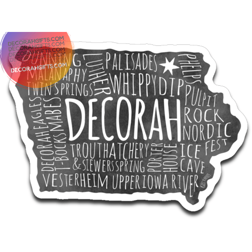 Decorah Decal Typography Points of Interest - Kari Yearous Photography WinonaGifts KetoGifts LoveDecorah