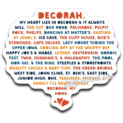 Decal Heart Lies In Decorah - Kari Yearous Photography WinonaGifts KetoGifts LoveDecorah