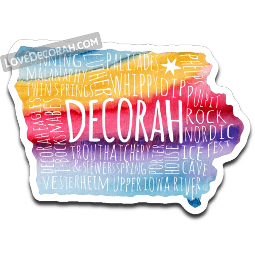 Decorah Iowa Typography Map Decal Watercolor - Kari Yearous Photography WinonaGifts KetoGifts LoveDecorah