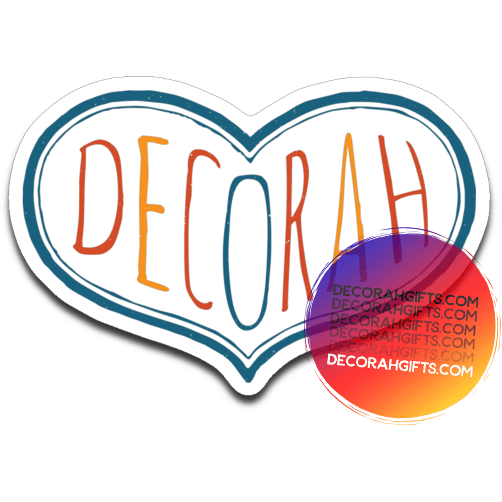 Decorah Decal Heart Typography Colors