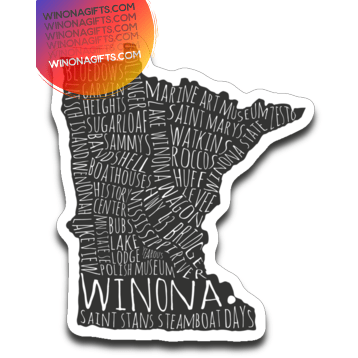 Winona Minnesota Decal Typography Map - Kari Yearous Photography KetoLaughs