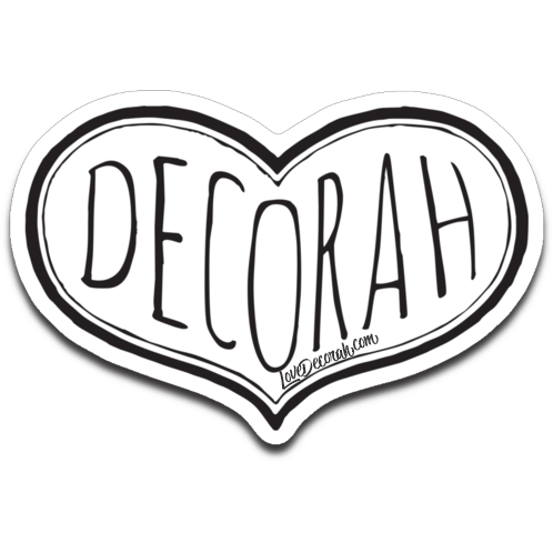 Decorah Decal Black Heart Typography