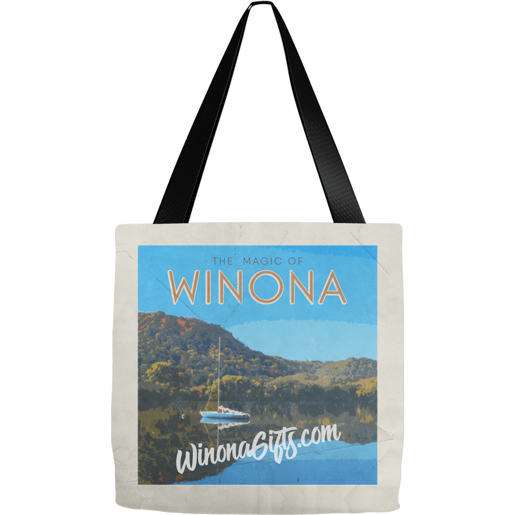Tote Bag Winona MN Vintage Sailboat Travel Poster Design - Kari Yearous Photography KetoLaughs