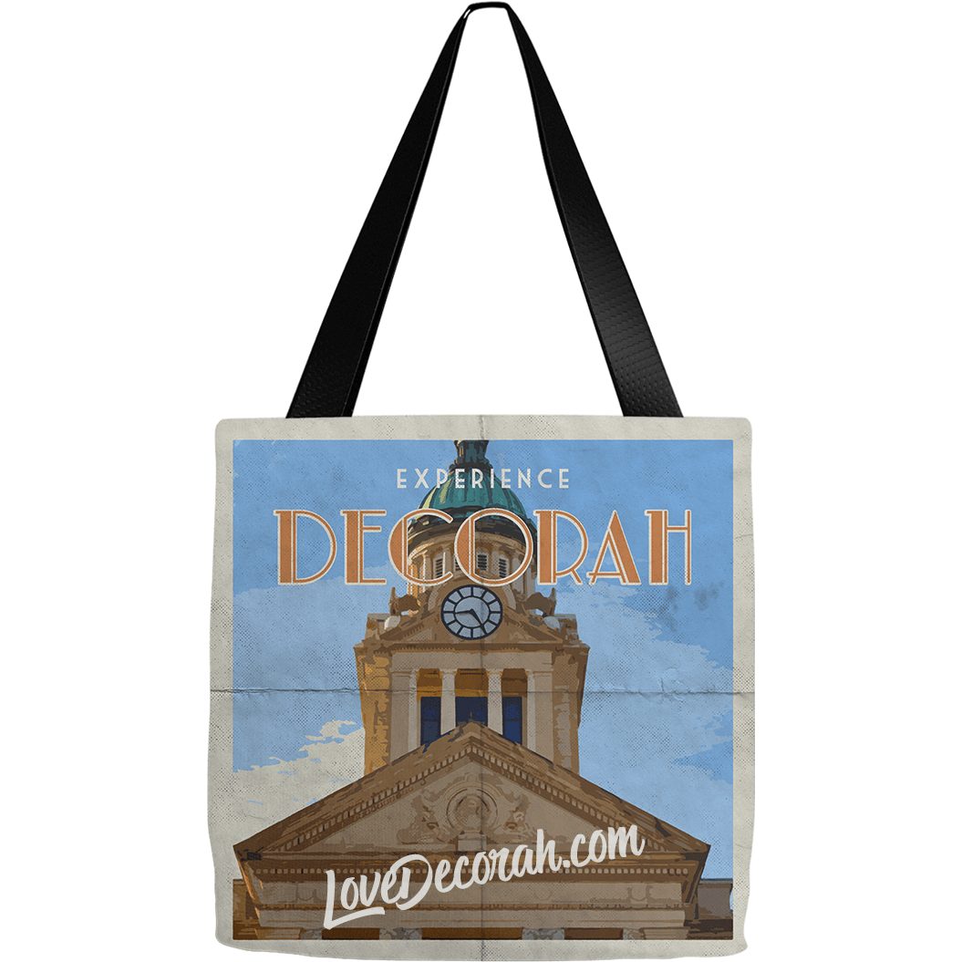 Decorah Iowa Tote Bag Courthouse Vintage Style Poster - Kari Yearous Photography WinonaGifts KetoGifts LoveDecorah