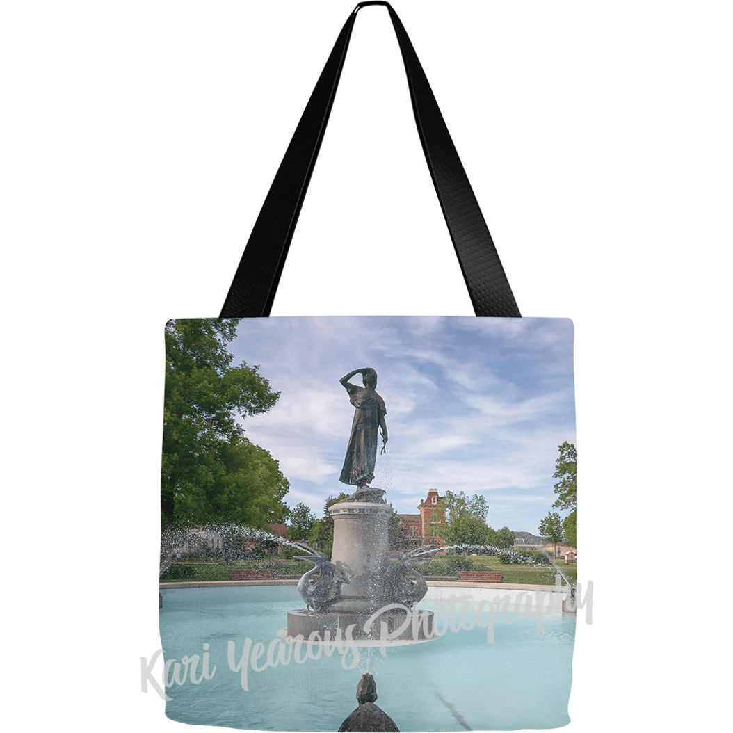 Winona Tote Bag Princess Wenonah Fountain at Windom Park - Kari Yearous Photography KetoLaughs