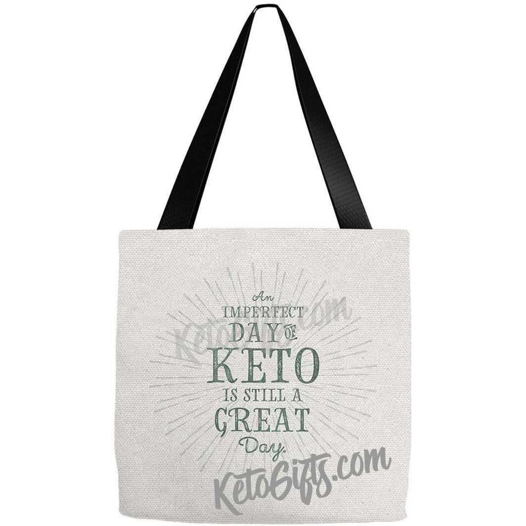 Keto Tote Bag Imperfect Day of Keto Great Day, Green on Texture - Kari Yearous Photography KetoLaughs