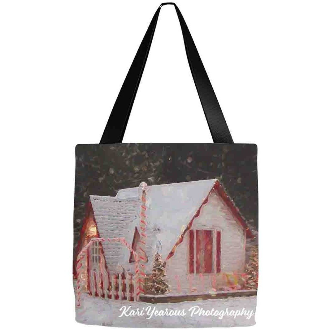 Tote Bag Santa House Winona MN Snowy Night - Kari Yearous Photography WinonaGifts KetoGifts LoveDecorah