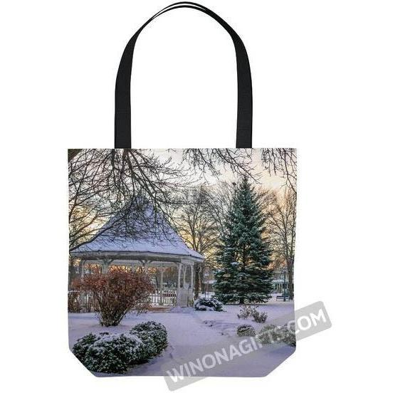 Winona Minnesota Tote Bag Snowy Gazebo - Kari Yearous Photography WinonaGifts KetoGifts LoveDecorah