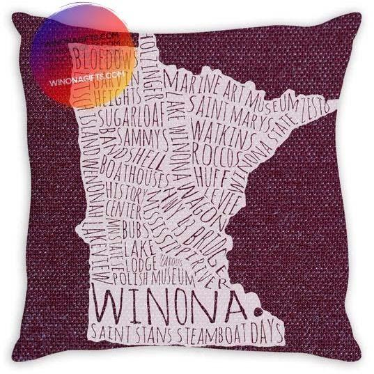 "Winona Pillow 14"" x 14"" Typography Map, Plum"