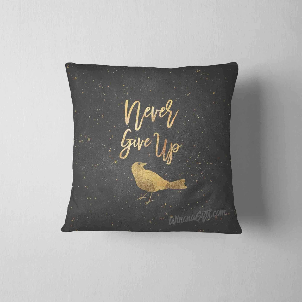Inspirational Pillow, Never Give Up - Kari Yearous Photography WinonaGifts KetoGifts LoveDecorah