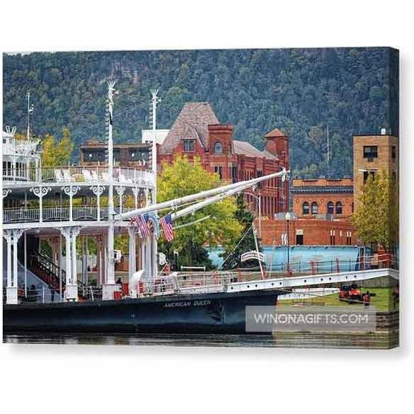 Paddlewheeler At Winona Minnesota Levee - Canvas Print - Kari Yearous Photography WinonaGifts KetoGifts LoveDecorah