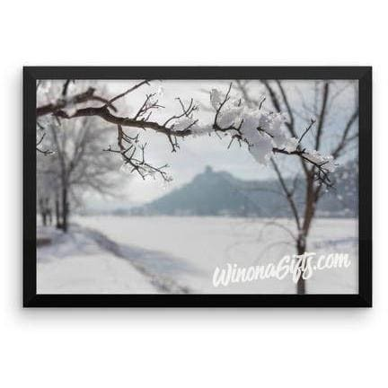 Framed Winona MN Poster Hoarfrost With Sugarloaf - Kari Yearous Photography KetoLaughs