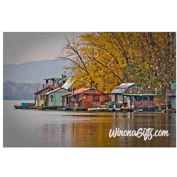 Autumn At Latsch Island Boathouses In Winona Minnesota - Art Print - Kari Yearous Photography WinonaGifts KetoGifts LoveDecorah