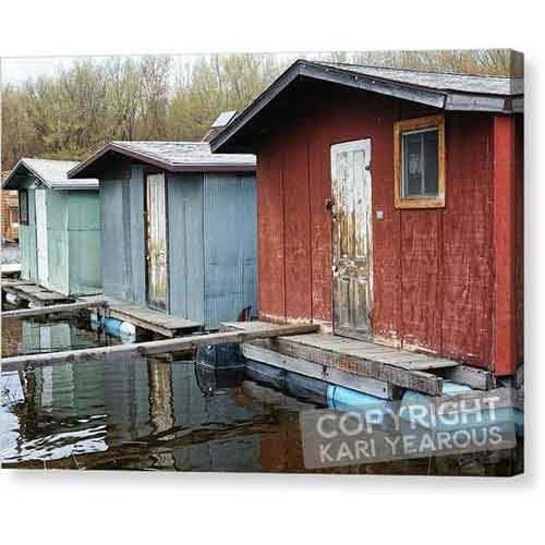 Backwater Trio Boathouses Mississippi River At Winona Mn - Canvas Print - Kari Yearous Photography WinonaGifts KetoGifts LoveDecorah