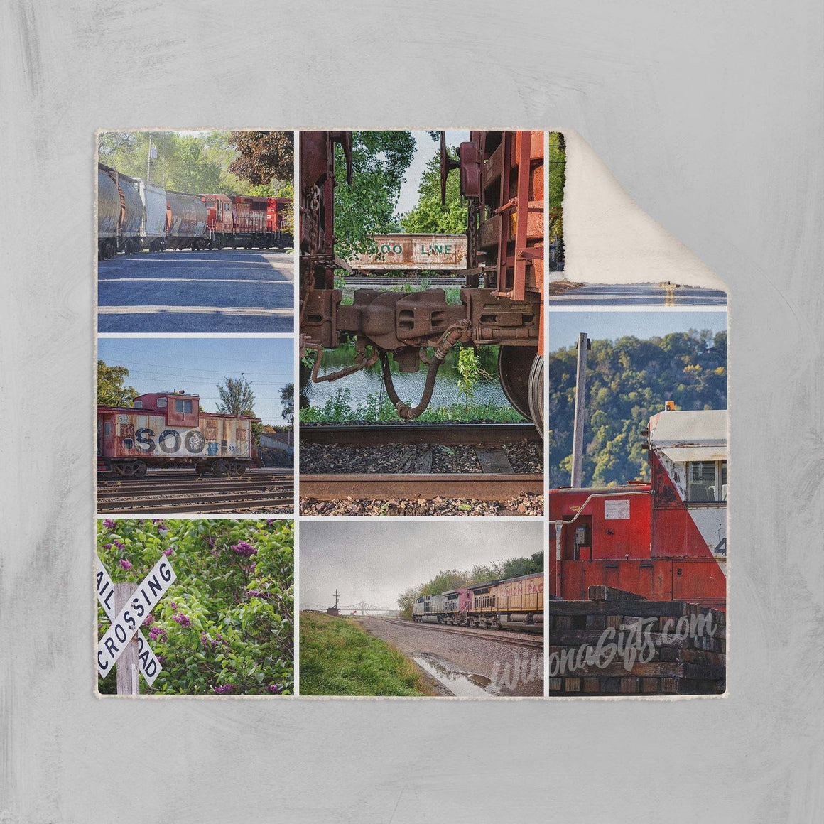 Fleece Sherpa Blanket Trains Collage Winona Minnesota - Kari Yearous Photography KetoLaughs
