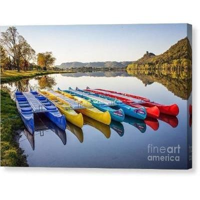 Canoes in the Early Morning Winona Minnesota Photo as Canvas Wrap