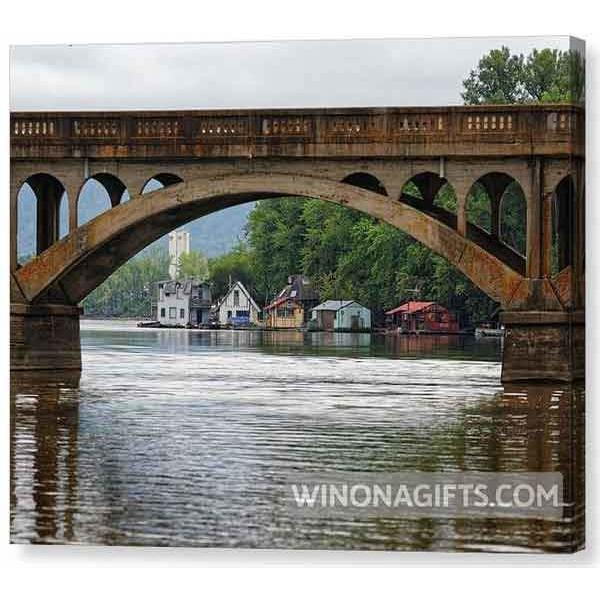 Canvas Wrap Boathouses With Wagon Bridge Winona Minnesota - Canvas Print - Kari Yearous Photography WinonaGifts KetoGifts LoveDecorah