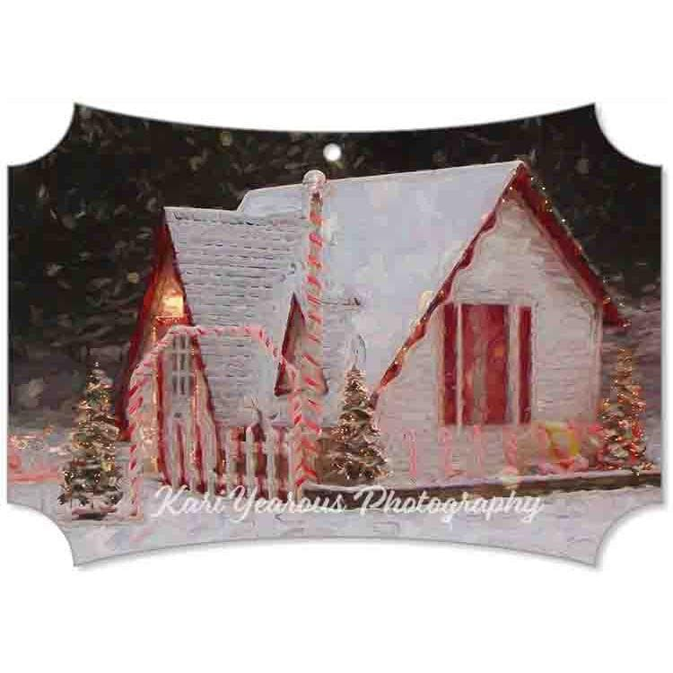 Canvas Ornament Santa House of Winona Snowy Night - Kari Yearous Photography WinonaGifts KetoGifts LoveDecorah