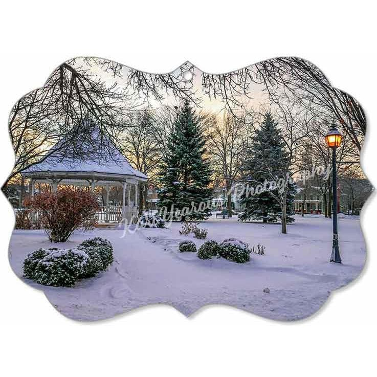 Canvas Ornament Snowy Gazebo at Windom Park Winona Minnesota - Kari Yearous Photography KetoLaughs