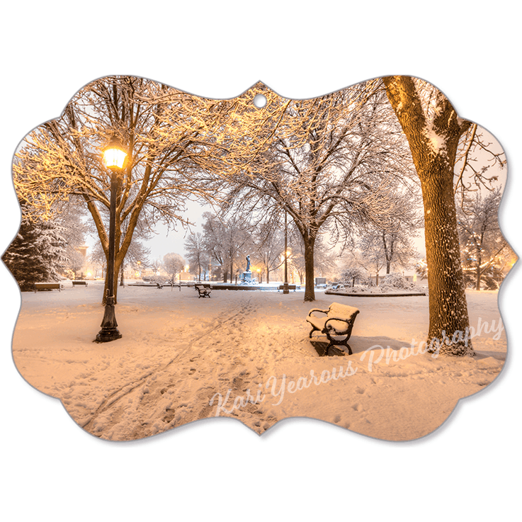 Canvas Ornament Snowy Path to Wenonah at Windom Park - Kari Yearous Photography KetoLaughs