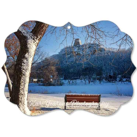 Canvas Ornament Sugarloaf with Snow and Bench - Kari Yearous Photography KetoLaughs