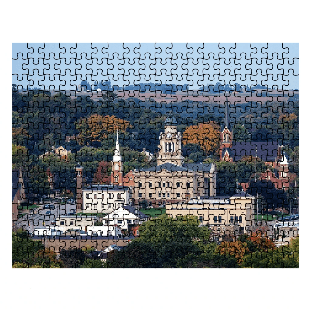 Decorah Iowa Puzzle View of Courthouse, Downtown, First Lutheran - Kari Yearous Photography WinonaGifts KetoGifts LoveDecorah