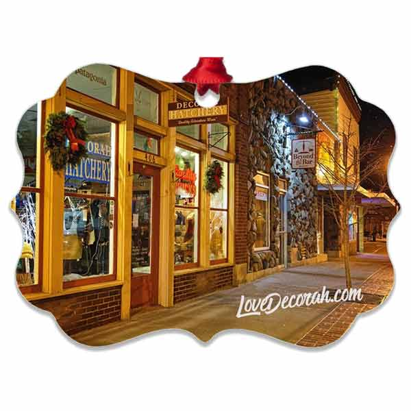 Decorah Iowa Ornament Snowy Downtown at Christmas Time - Kari Yearous Photography WinonaGifts KetoGifts LoveDecorah
