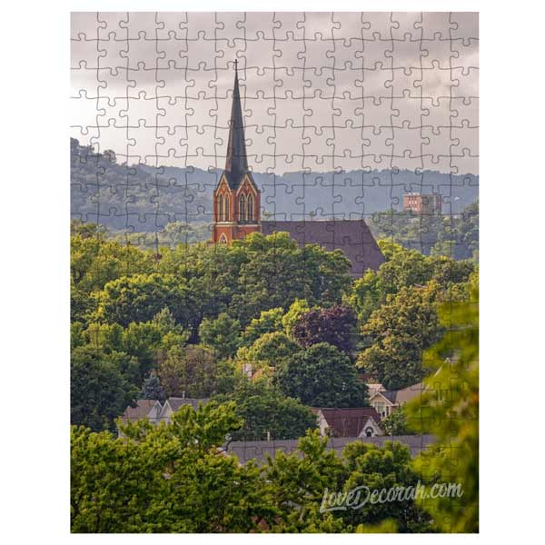 Puzzle Decorah Iowa Scene First Lutheran Church in Summer