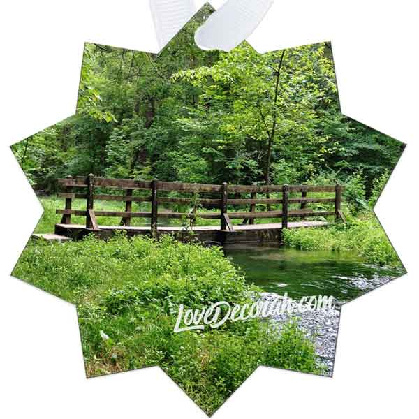 Decorah Iowa Ornament Twin Springs Footbridge - Kari Yearous Photography WinonaGifts KetoGifts LoveDecorah