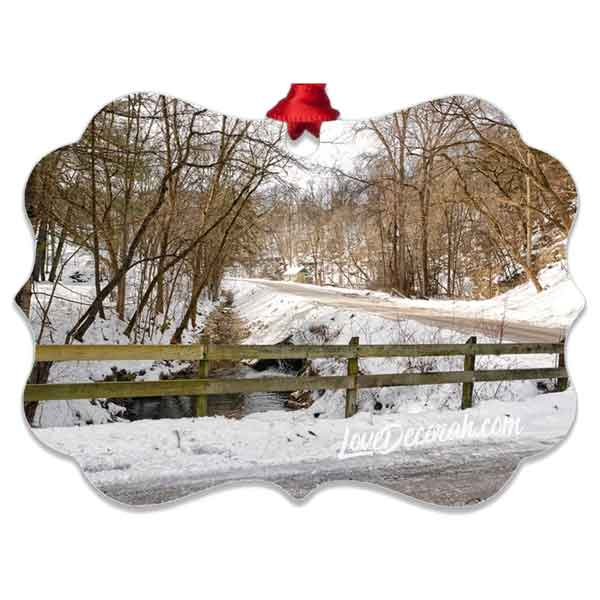 Decorah Iowa Ornament Twin Springs Road in Winter - Kari Yearous Photography WinonaGifts KetoGifts LoveDecorah
