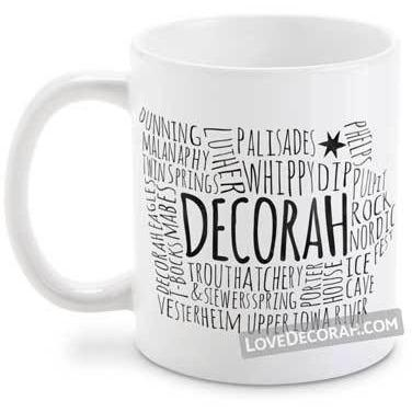 Decorah IA Coffee Mug Map Points of Interest, Text Only - Kari Yearous Photography WinonaGifts KetoGifts LoveDecorah