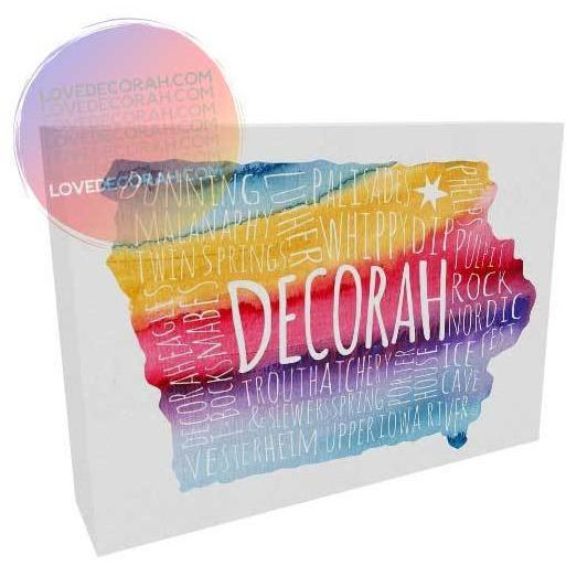 Decorah Iowa Gift Colorful Map Canvas Wrap with Vesterheim Luther College Ice Cave and More