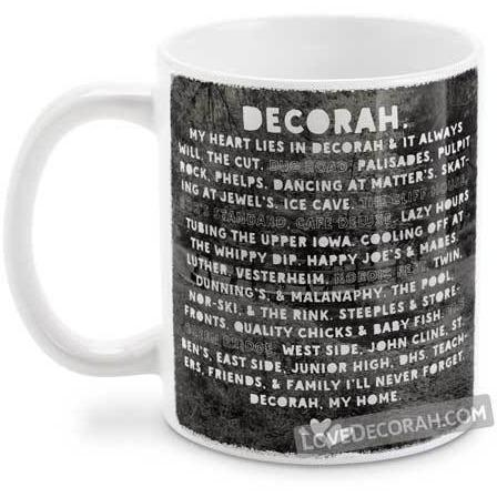 Decorah Iowa Coffee Mug, Heart Lies in Decorah, with Twin Springs - Kari Yearous Photography KetoLaughs