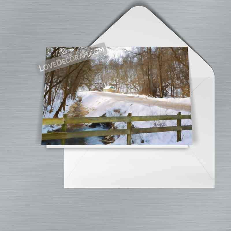 Decorah Iowa Notecard Twin Springs in Winter, 1-pack or 5-pack WRONG - Kari Yearous Photography WinonaGifts KetoGifts LoveDecorah