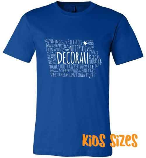 Decorah Iowa Kids T-Shirt, Text Map Decorah Points of Interest - Kari Yearous Photography WinonaGifts KetoGifts LoveDecorah
