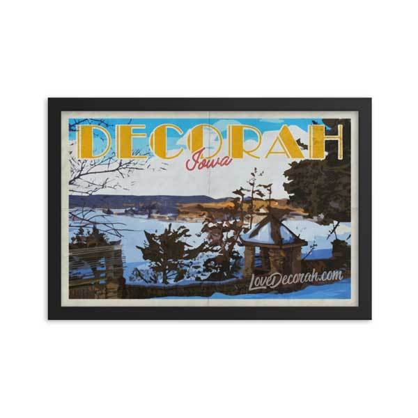 Framed Poster Decorah Phelps Park Vintage Travel Poster - Kari Yearous Photography WinonaGifts KetoGifts LoveDecorah