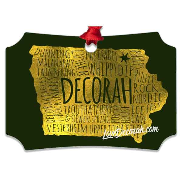 Decorah Iowa Ornament Word Map with Dunning Springs and More - Kari Yearous Photography WinonaGifts KetoGifts LoveDecorah