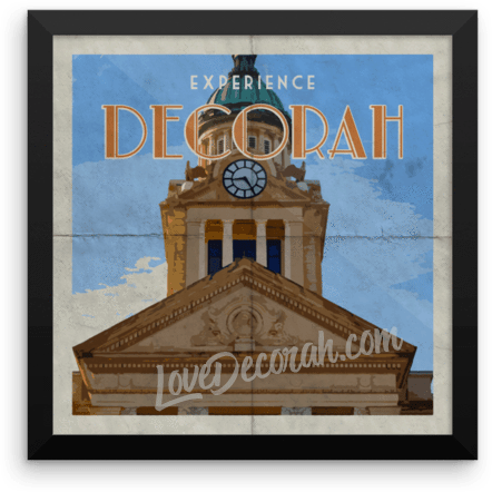 Framed Poster Decorah Courthouse Vintage Travel Poster - Kari Yearous Photography WinonaGifts KetoGifts LoveDecorah