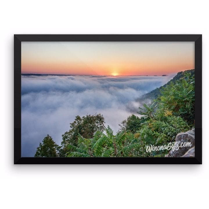Framed Poster Sunrise With Fog at Garvin Heights Winona - Kari Yearous Photography WinonaGifts KetoGifts LoveDecorah