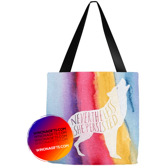 Tote Bag Nevertheless She Persisted, Rainbow - Kari Yearous Photography WinonaGifts KetoGifts LoveDecorah