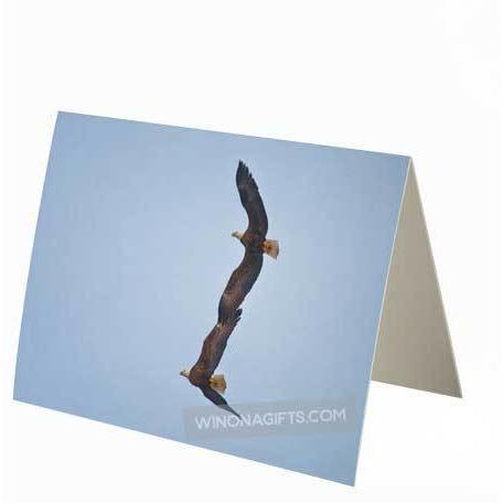 Small Notecard Bald Eagles Flying Together in Winona, Minnesota - Kari Yearous Photography WinonaGifts KetoGifts LoveDecorah