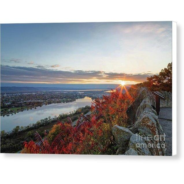 Fall Sunrise At Garvin Heights Winona - Canvas Print - Kari Yearous Photography KetoLaughs