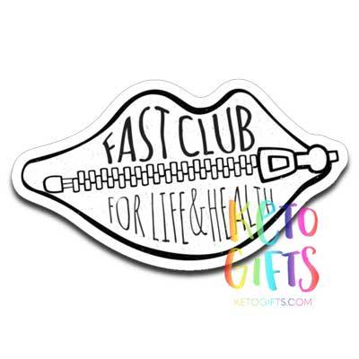 Fast Club Decal, Zipped Lips Fasting Sticker - Kari Yearous Photography WinonaGifts KetoGifts LoveDecorah