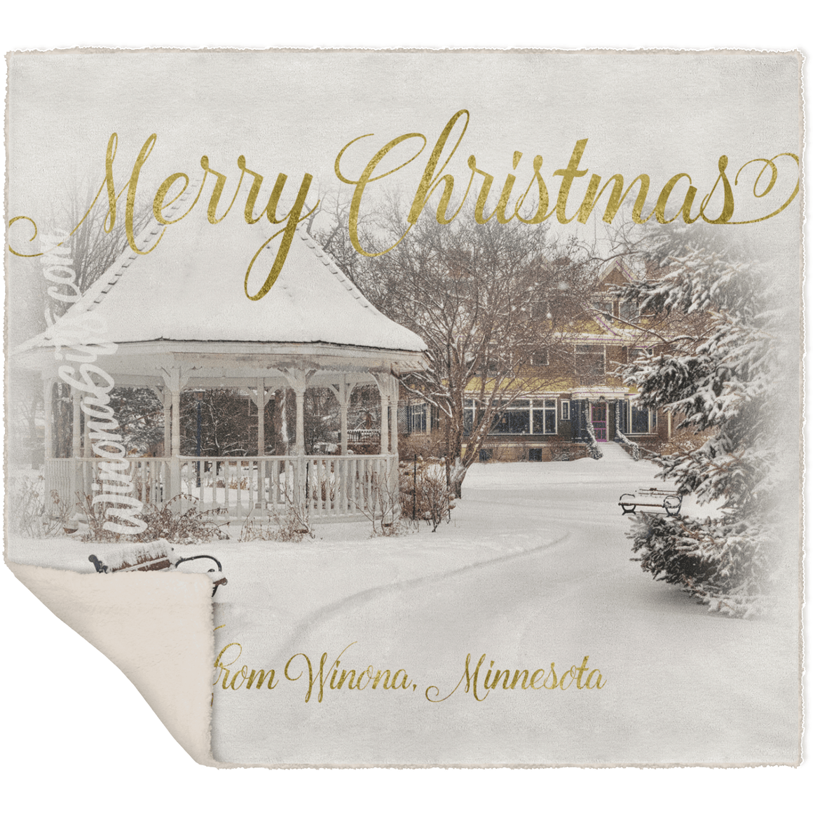 Blanket, Fleece Sherpa, Merry Christmas Winona Minnesota Gazebo - Kari Yearous Photography WinonaGifts KetoGifts LoveDecorah