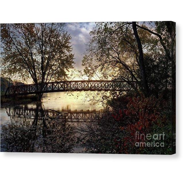 Footbridge With Morning Fog Winona Minnesota Photo - Canvas Print