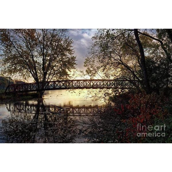 Footbridge With Morning Fog Winona Minnesota Photo - Art Print - Kari Yearous Photography WinonaGifts KetoGifts LoveDecorah