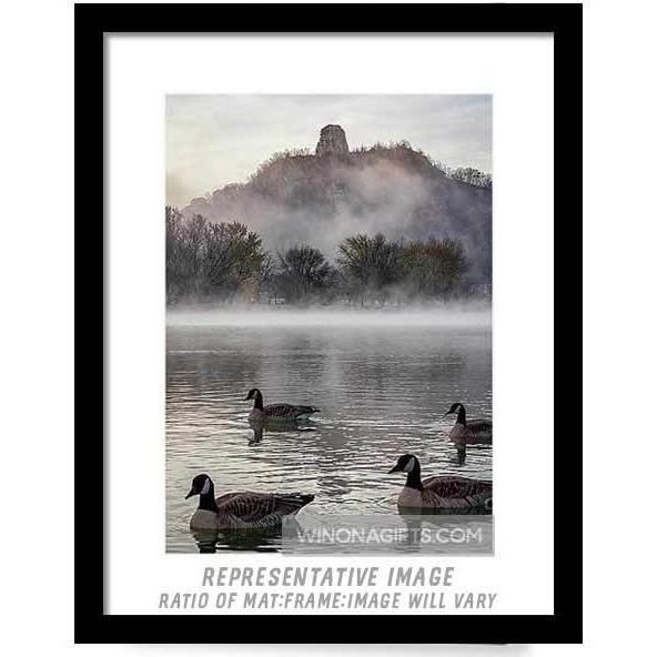 Geese With Sugarloaf In Winona Minnesota - Framed Print - Kari Yearous Photography KetoLaughs