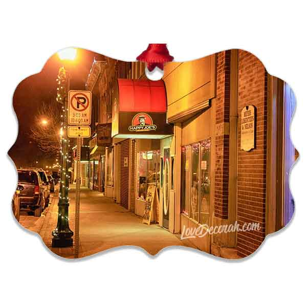 Decorah Iowa Ornament Snowy Downtown with Happy Joe's